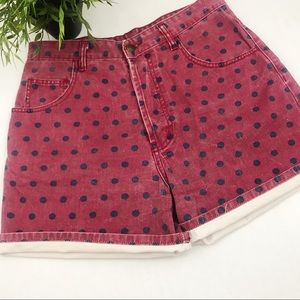 Vintage high waisted mid thigh polka dot shorts
